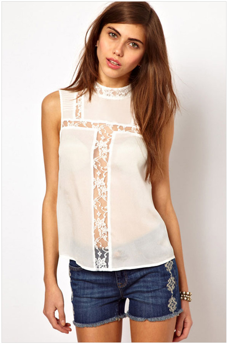 Fashion women Sexy Lace Patchwork hollow out blouse ...
