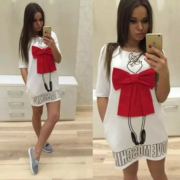 Fashion Women Shirts Dress Cute Bow short Sleeve O-neck ...
