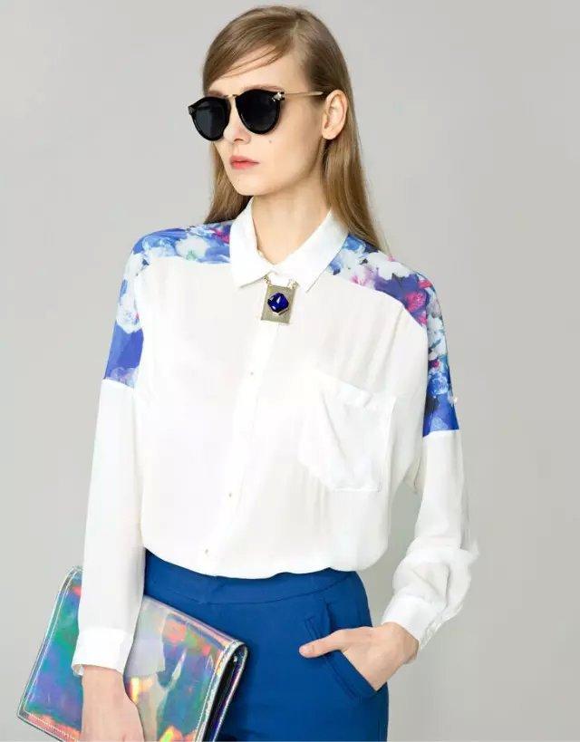 Fashion Women Shoulder Floral Print Patchwork White ...