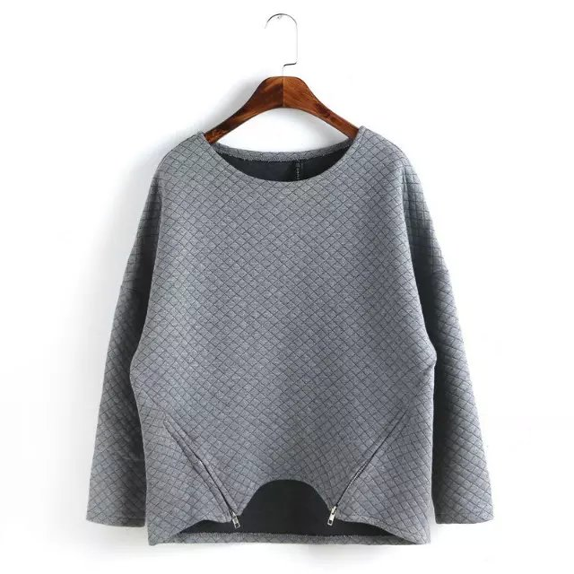 Fashion Women Sport Zipper Gray pullovers shirts Casual ...