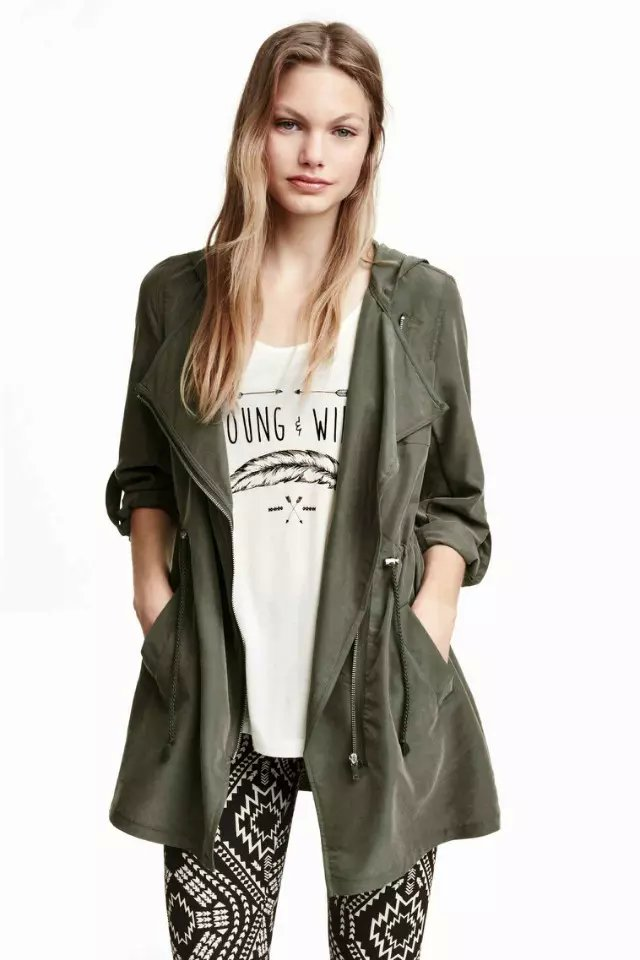 Fashion women Spring elegant Army green Pocket Zipper ...