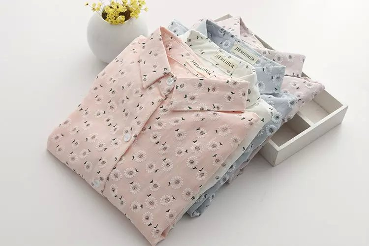 Fashion Women spring Floral print button cotton blouse ...