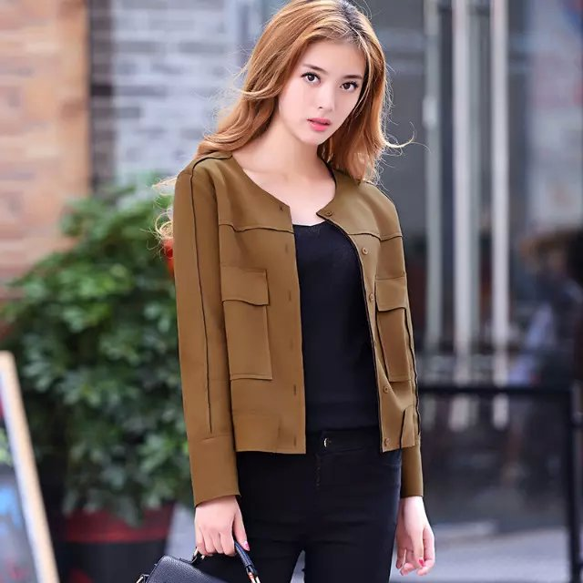 Fashion Women spring O-neck button Pocket Long sleeve ...