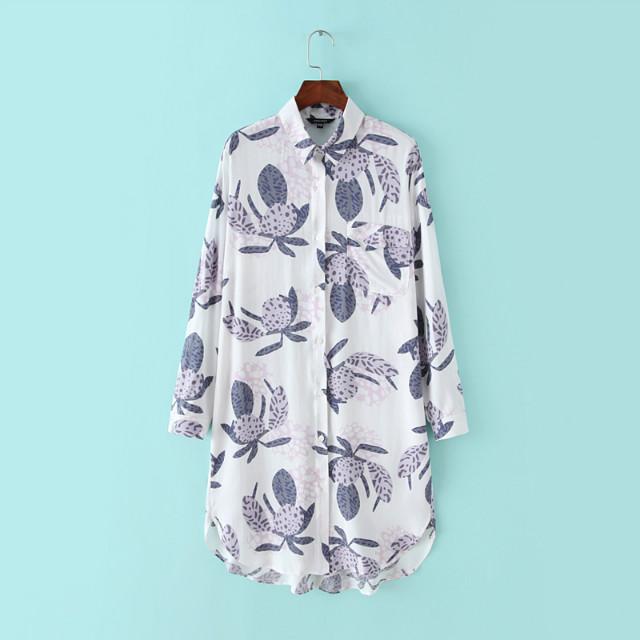 Fashion Women Spring white floral print Shirt Dress ...