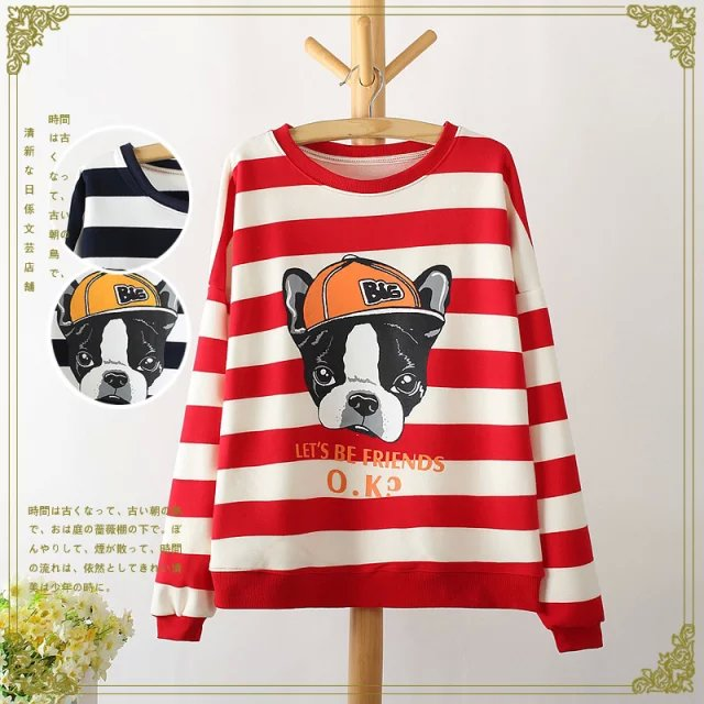 Fashion women striped dog Letter print pullover sweatshirts ...