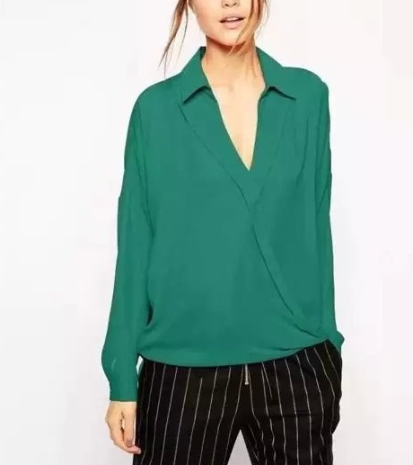 Fashion women stylish Cross V neck long sleeve Green ...