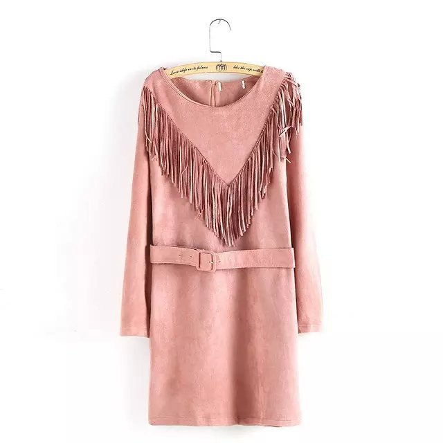 Fashion Women Suede Leather Tassel Dresses With Belt ...