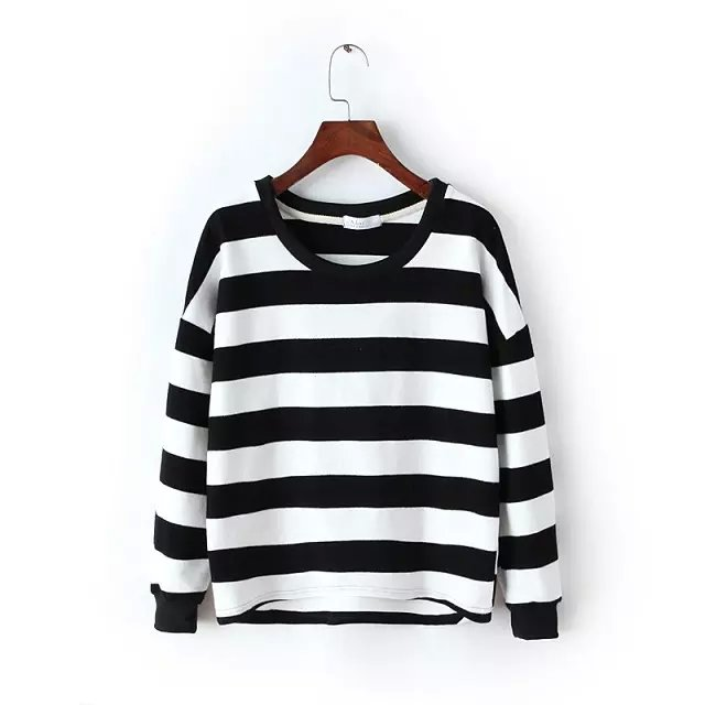 Fashion women sweatershirt Casual Striped print batwing ...