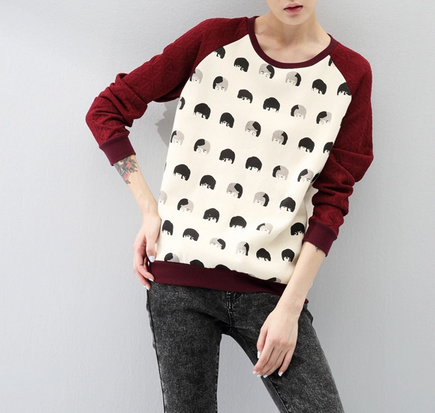 Fashion Women sweatshirts head print pullovers Casual ...