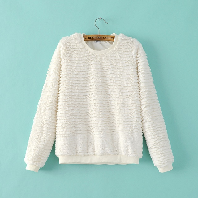 Fashion Women sweatshirts winter thick warm white faux ...