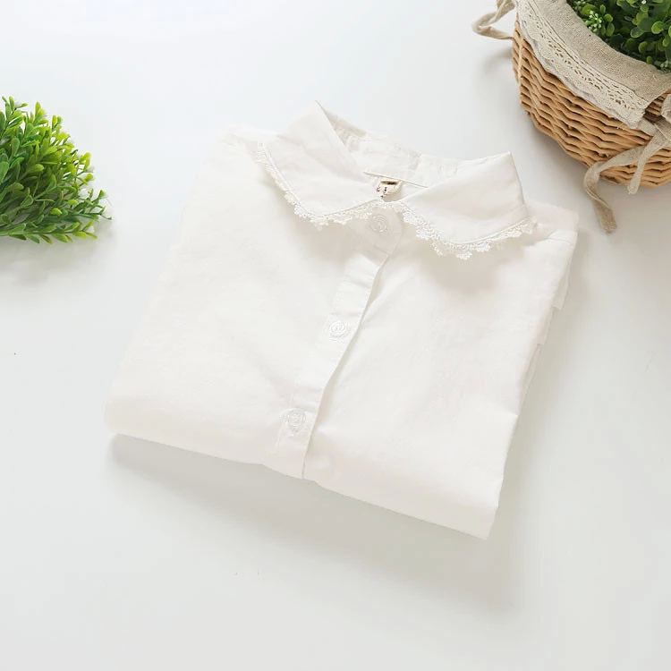 Fashion women sweet cotton lace turn-down collar white ...