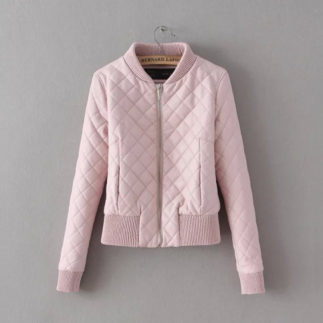 Fashion women sweet pink Faux leather short jacket coat ...