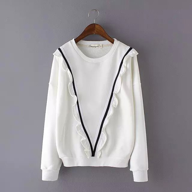 Fashion women sweet Sweatshirts white Ruffles batwing ...