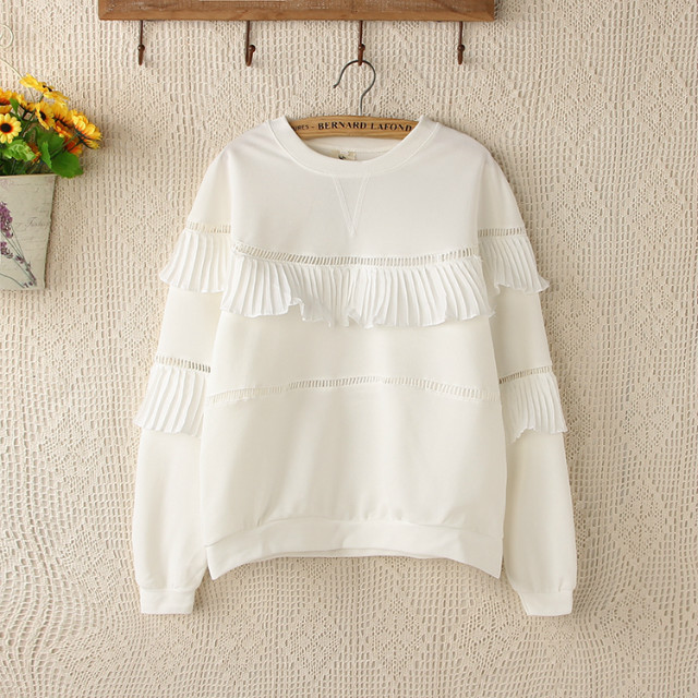 Fashion women sweet Sweatshirts white Ruffles hollow ...