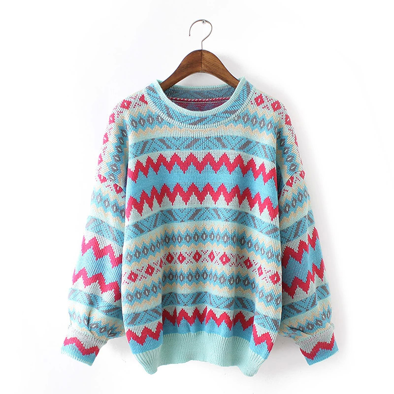 Fashion women wave striped pattern Pullover knitwear ...