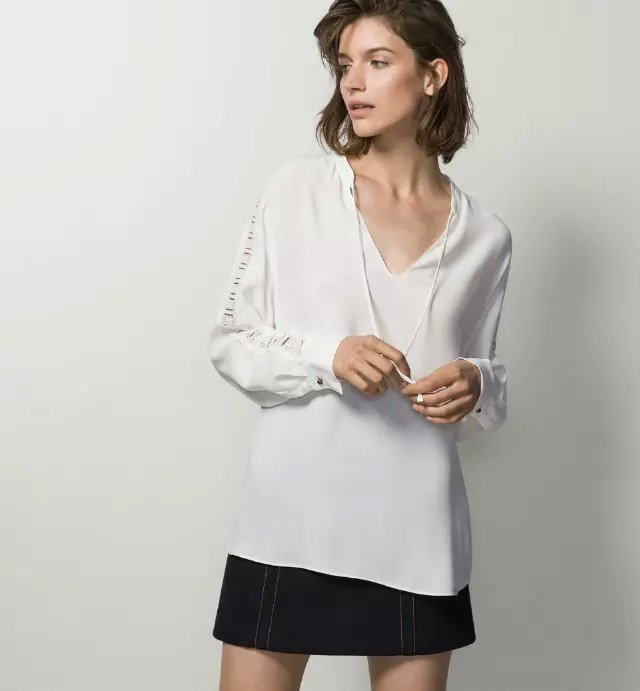 Fashion Women White Chiffon blouse Sexy Lace patchwork ...