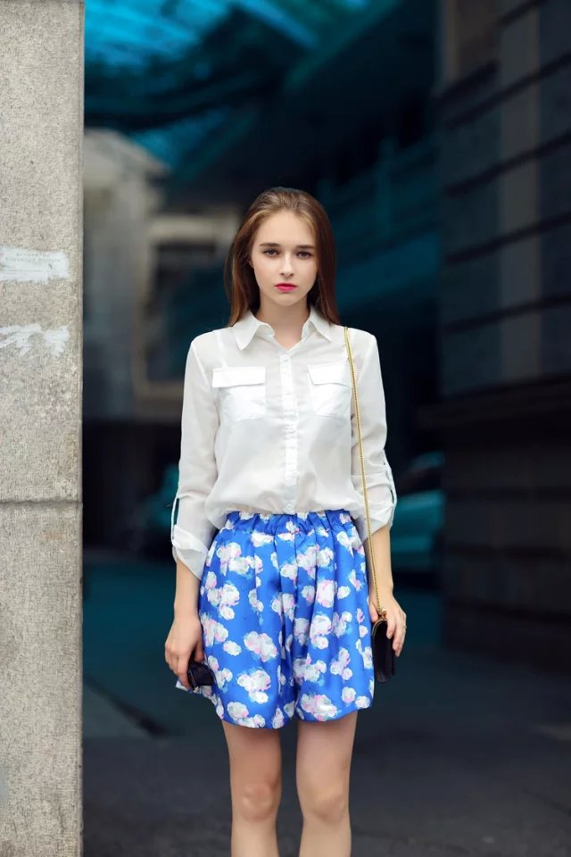 Fashion Women White Chiffon Blouses Turn down collar ...