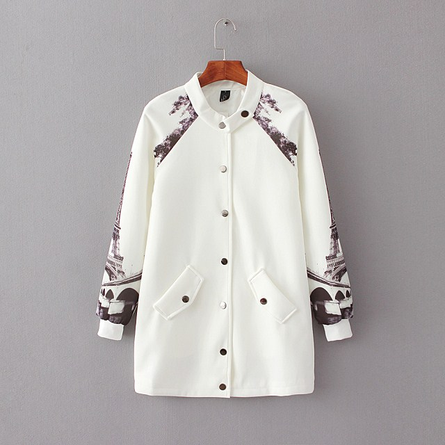 Fashion women White eiffel print coat outwear pocket ...