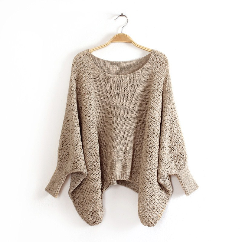 Fashion women white Khaki pullover knitwear Ripped Casual ...