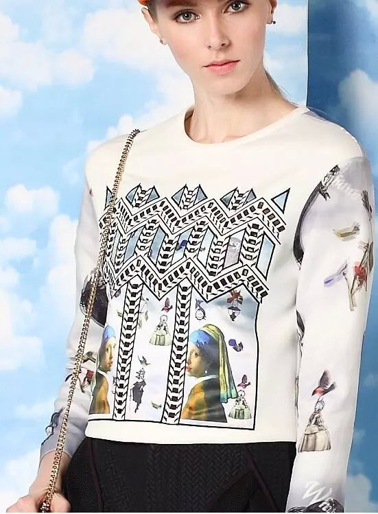 Fashion Women white Portrait Geometric print short pullover ...