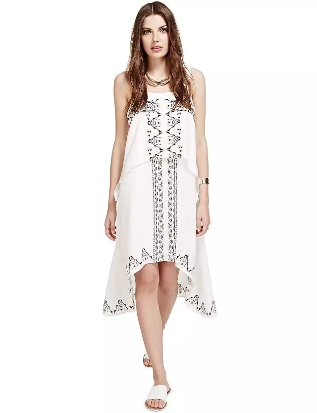 Fashion women White Spaghetti Strap backless Geometric ...