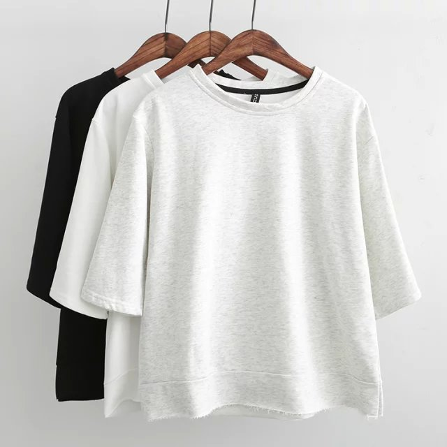 Fashion Women white sport Short pullovers shirts Casual ...