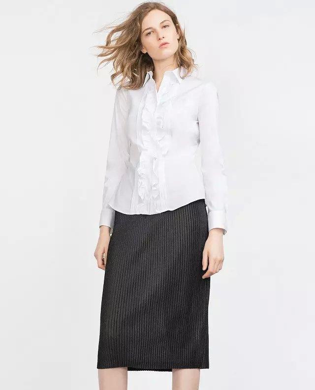 Fashion women white Turn-down collar Chiffon Button ...