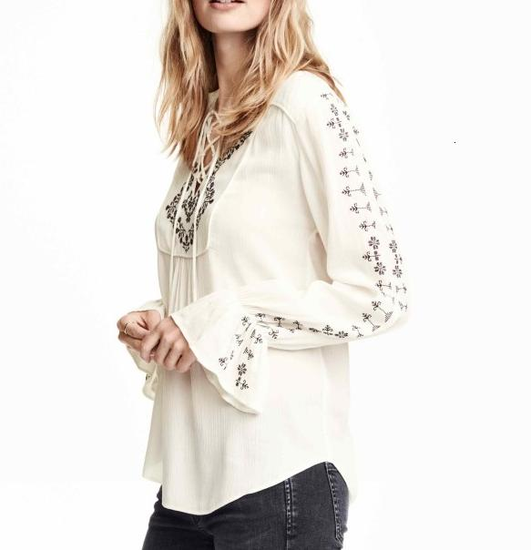 Fashion women white V-neck Embroidry Butterfly Sleeve ...