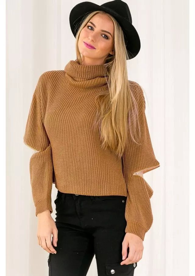 Fashion women winter brown Turtleneck open zipper sleeve ...