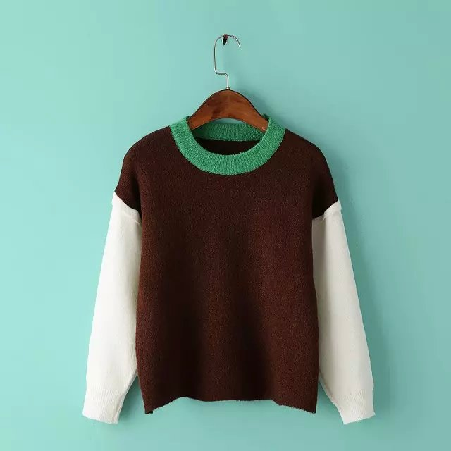 Fashion women winter Color Matching school style pullover ...