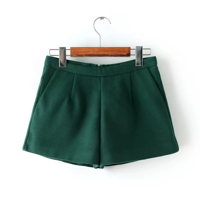 Fashion Women winter Elegant Green woolen shorts back ...