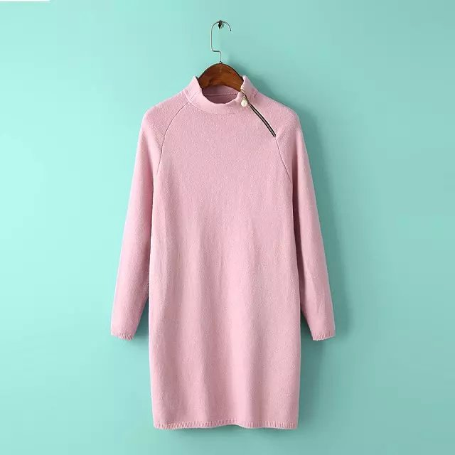 Fashion Women winter elegant pink Knitted sweater zipper ...
