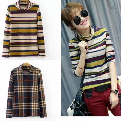 Fashion women winter elegant Striped pattern Pullover ...