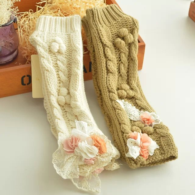 Fashion women winter elegant sweet knitted Lace patchwork ...