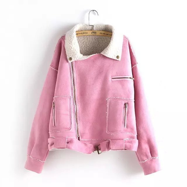 Fashion Women Winter Faux Suede Leather Pink Jacket ...