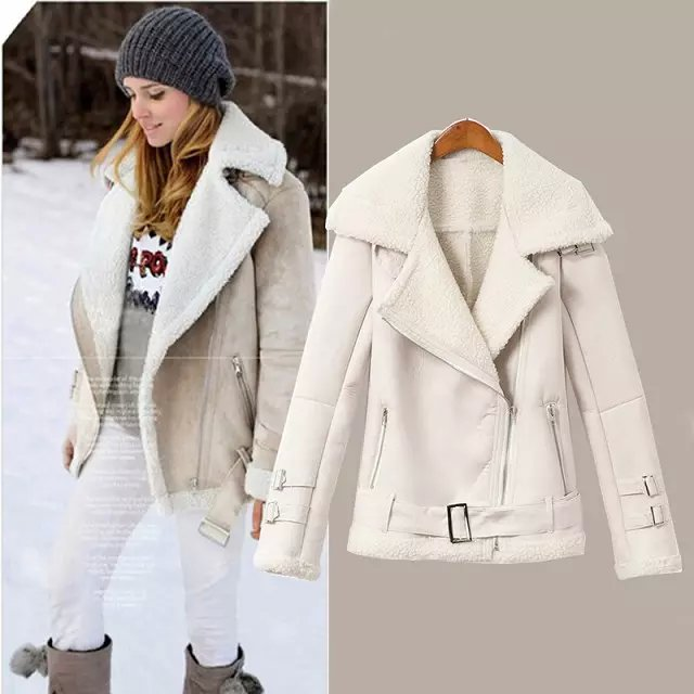 Fashion Women Winter Faux Suede Leather white Jacket ...