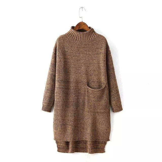 Fashion Women Winter khaki Knitted sweater side open ...