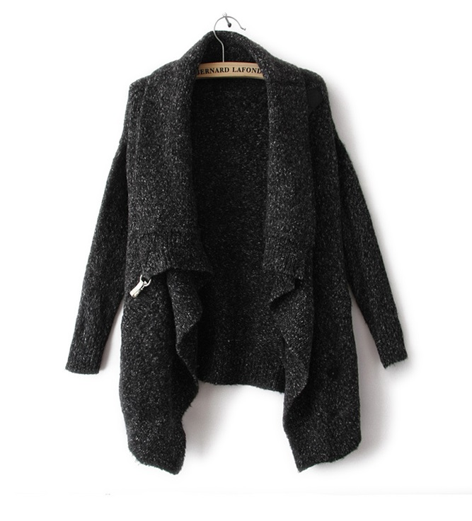 Fashion Women winter Knitted Gray Thick Irregular Cardigan ...