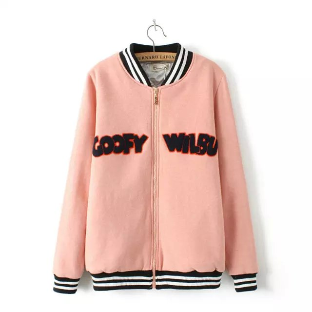 Fashion Women winter pink Cartoon Letter Embroidery ...