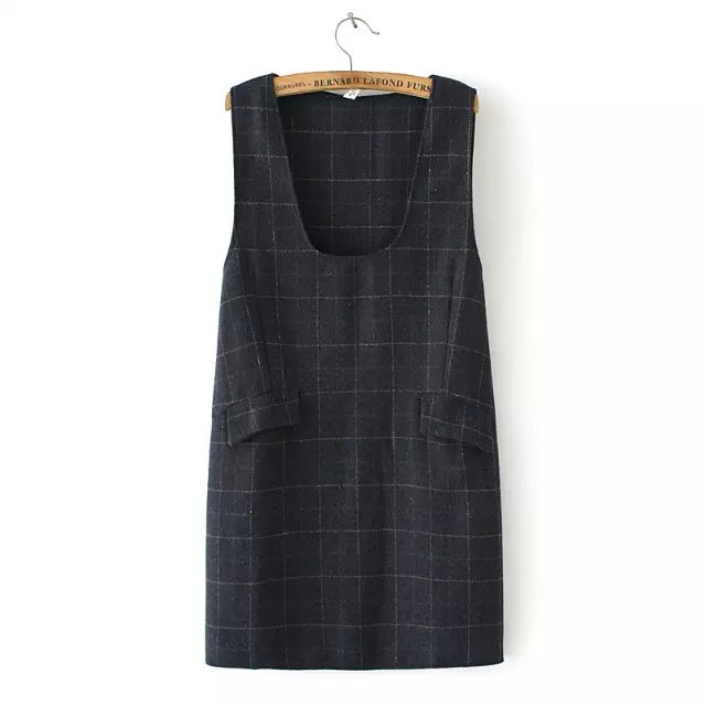 Fashion Women winter school style woolen black plaid ...