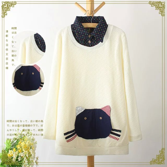 Fashion women Winter sweet beige knitted Cat patchwork ...