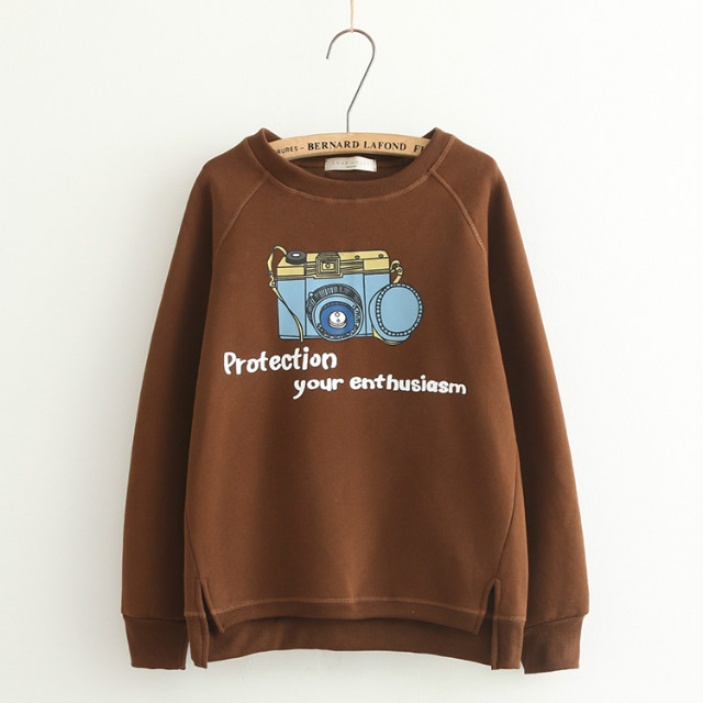 Fashion Women Winter thick brown Camera Letter print ...