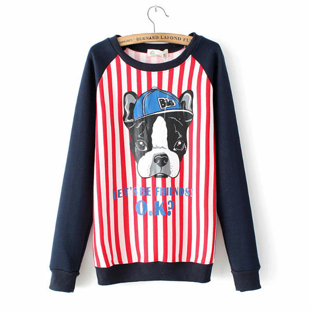 Fashion Women winter thick Dog Striped print sport pullovers ...