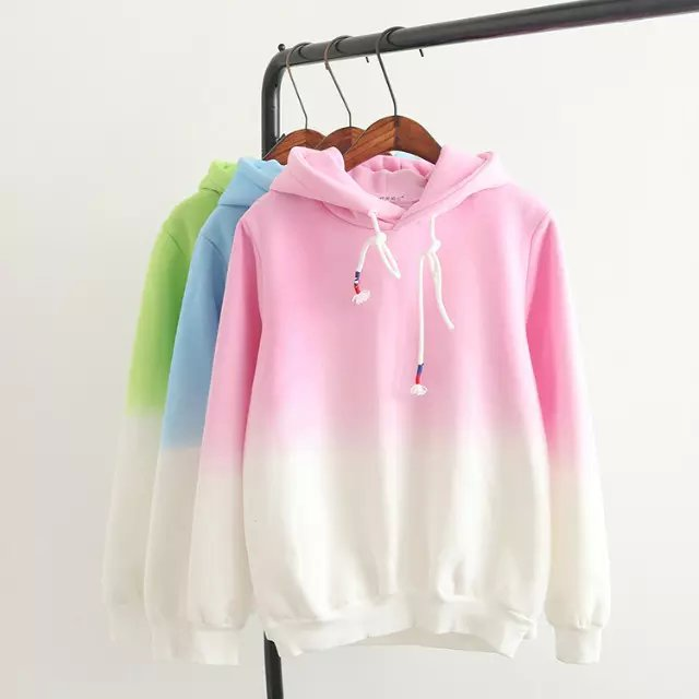 Fashion women winter thick Gradient color sport pullovers ...