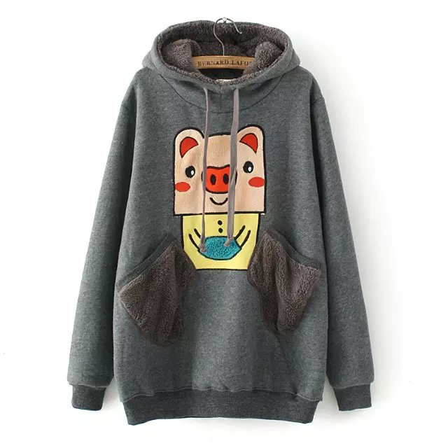 Fashion women Winter thick gray Drawstring hooded Cartoon ...