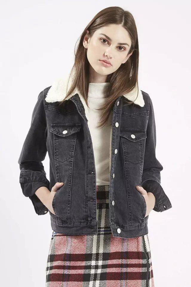 Fashion Women Winter Thick warm black Denim pocket cotton ...