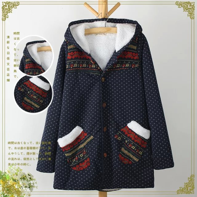 Fashion Women winter thick warm Cotton Hooded Geometric ...