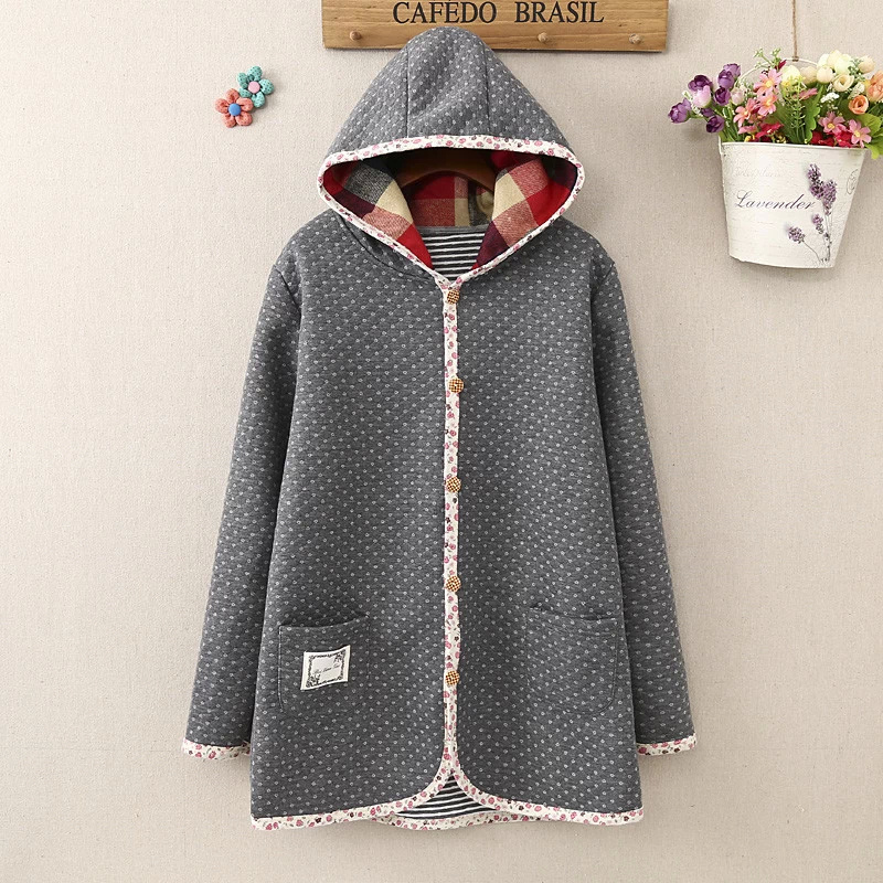 Fashion Women winter thick warm gray Cotton Hooded Floral ...