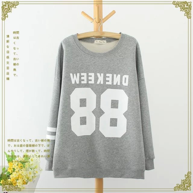 Fashion women winter thick warm gray Letter number print ...