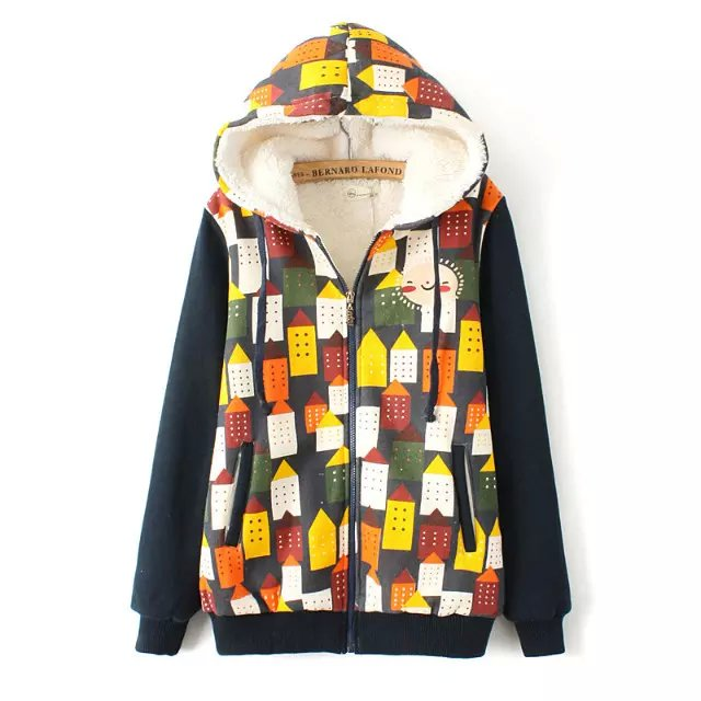 Fashion Women Winter Thick warm house print cotton Parkas ...